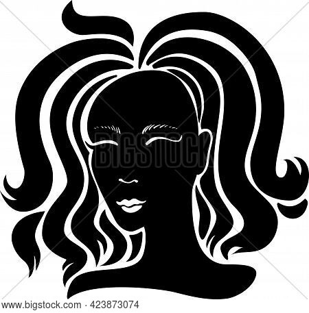 Black Beauty Girl Silhouette With Long Hair Isolated On White Background. Vector Illustration.