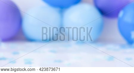 Abstract Defocused Blurred Festive Background For Holiday. Birthday, Boy Or Girl Party Concept. Baby