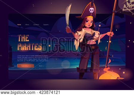 Girl Pirate On Night Beach Cartoon Landing Page. Filibuster Woman In Captain Costume With Jolly Roge