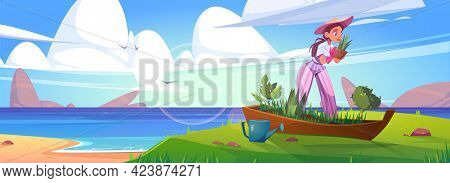 Woman Planting Flowers In Old Boat On Sea Beach. Vector Cartoon Summer Landscape Of Sand Ocean Shore