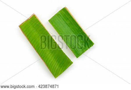 Eco Tray Which Made From Banana Leaf And Banana Tree, Top View Image, The Isolated Image On White Ba