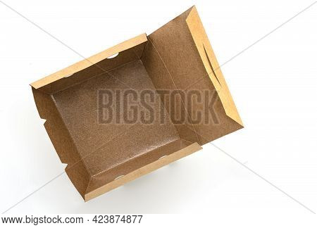 Opened Eco Takeaway Food Box On White Background. Empty Brown Paper Food Box With Waterproof Coating