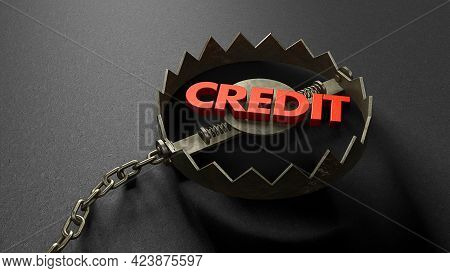 Credit As Bait Inside The Trap. Credit Concept Lures You Into A Trap. Bear Trap With A Chain. 3d Ren