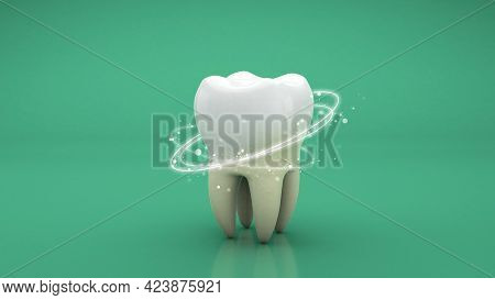 Teeth Whitening. Cleaning The Tooth From Tartar With Rays. Green Background. 3d Render