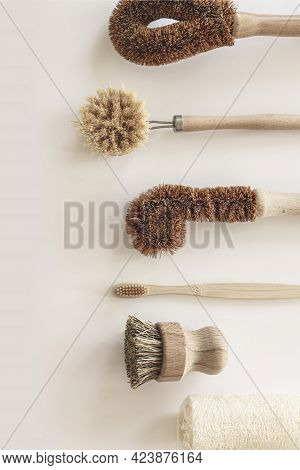 Zero Waste Kitchen Cleaning Concept. Eco Friendly Natural Cleaning Tools And Products, Bamboo Dish B