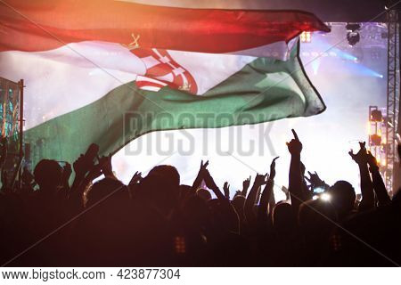 Soccer fans supporting Hungary - crowd celebrating in stadium with raised hands against Hungary flag
