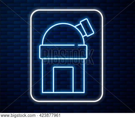 Glowing Neon Line Astronomical Observatory Icon Isolated On Brick Wall Background. Observatory With