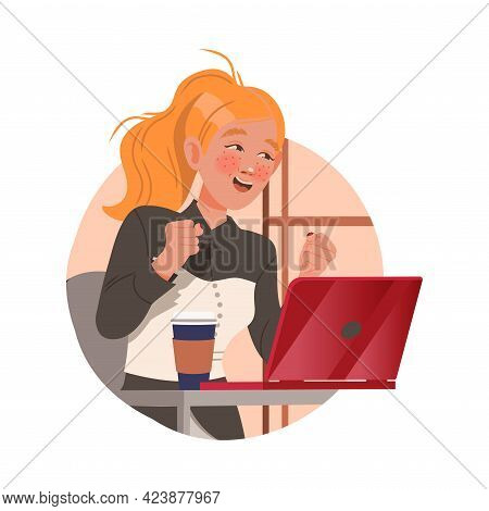 Redhead Freckled Woman Office Worker With Laptop At Workspace Performing Duty Circle Vector Composit