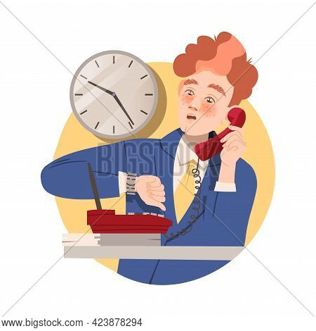 Man Office Worker At Workspace Looking At Watch Speaking By Phone Performing Duty Circle Vector Comp