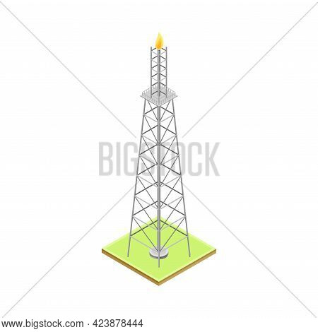 Gas Flare Or Flare Stack As Gas Combustion Device At Petroleum Refinery Station Isometric Vector Ill