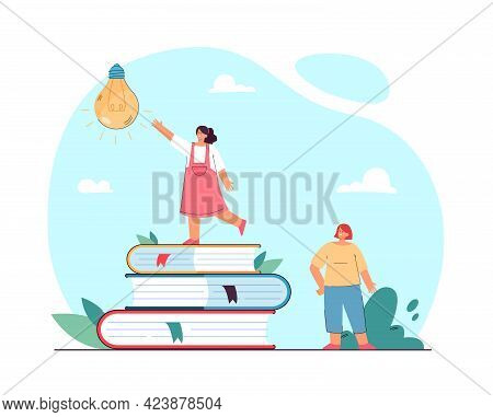 Tiny Girl Standing On Pile Of Books And Reaching For Light Bulb. Female Friends Gaining Knowledge Fl