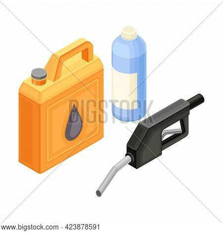 Canister And Bottle With Oil Or Petroleum Isometric Vector Illustration