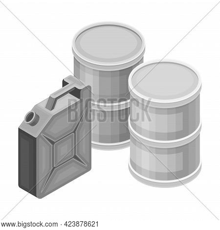 Canister And Metal Barrel With Oil Or Petroleum Isometric Vector Illustration