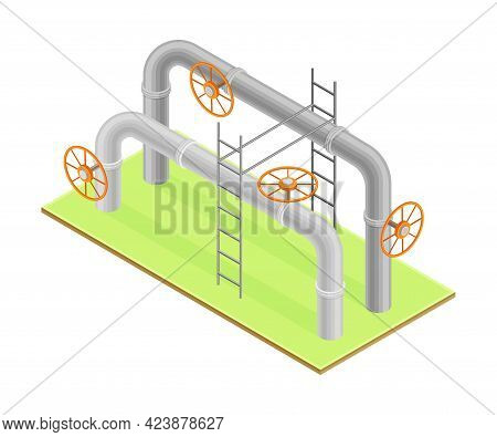 Oil Or Petroleum Industry With Pipeline For Transporting Process Isometric Vector Illustration