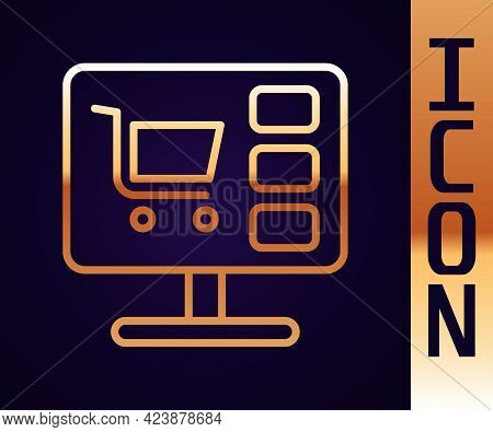 Gold Line Shopping Cart On Screen Computer Icon Isolated On Black Background. Concept E-commerce, E-