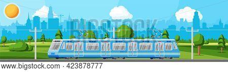 Modern Tram Train Passenger Streetcar Cityscape. City Light Rail Tramcar. Urban Electric Transport.