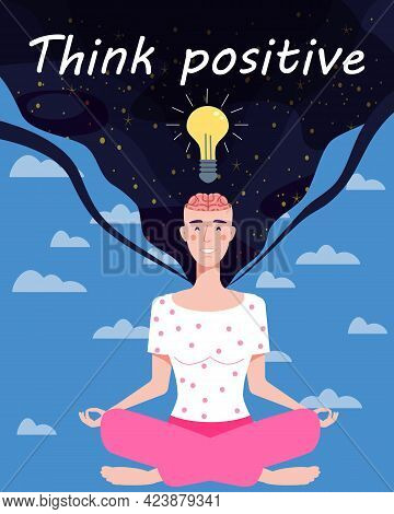 Girl With An Open Brain Opens Idea, Bulb, Open Brain, Relax Mental Calm Mind, Releasing Stress. Yoga