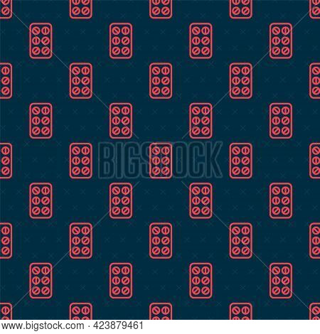 Red Line Pills In Blister Pack Icon Isolated Seamless Pattern On Black Background. Medical Drug Pack