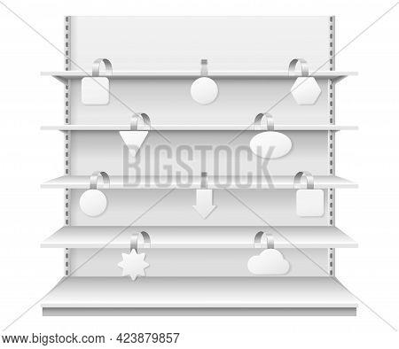 Wobblers On Shelves. Retail Sale Danglers Hanging On Supermarket Shelf. Realistic Showcase Display W