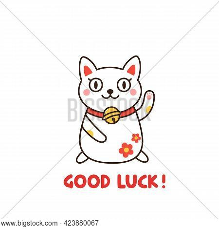The Maneki-neko Is A Japanese Figurine Which Believed To Bring Good Luck To The Owner. Cute Oriental