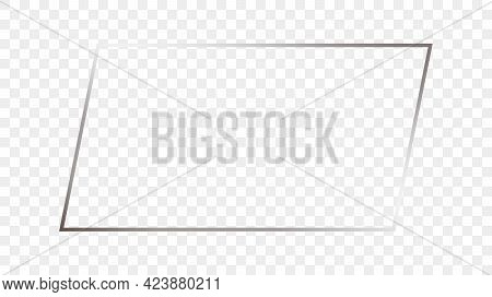Silver Glowing Rectangular Shape Frame Isolated On Transparent Background. Shiny Frame With Glowing