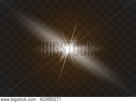 Yellow Glowing Light Explodes On A Transparent Background. Sparkling Magical Dust Particles.