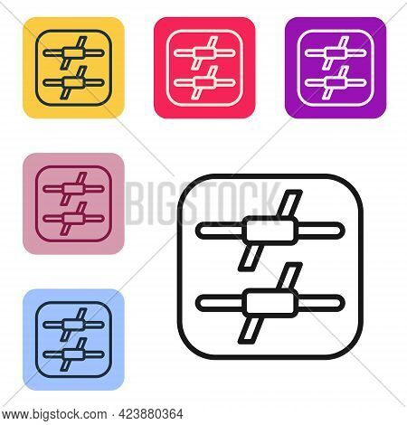 Black Line Barbed Wire Icon Isolated On White Background. Set Icons In Color Square Buttons. Vector