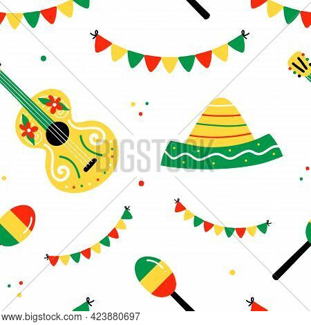 Vector Seamless Pattern Background With Cute Colorful Garlands, Maracas, Guitars, Sombrero Hats For