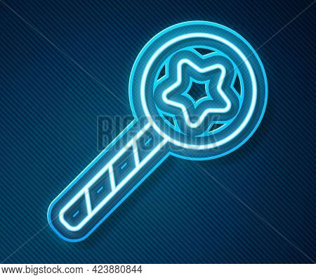 Glowing Neon Line Magic Wand Icon Isolated On Blue Background. Star Shape Magic Accessory. Magical P