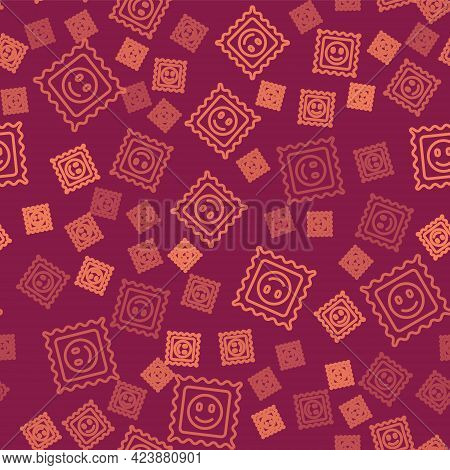 Brown Line Lsd Acid Mark Icon Isolated Seamless Pattern On Red Background. Acid Narcotic. Postmark.