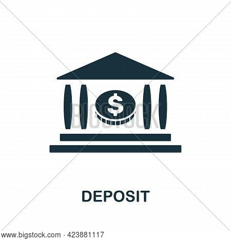 Deposit Icon. Simple Creative Element. Filled Monochrome Deposit Icon For Templates, Infographics An