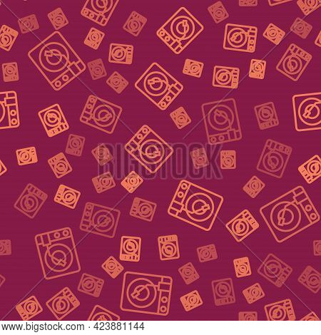 Brown Line Vinyl Player With A Vinyl Disk Icon Isolated Seamless Pattern On Red Background. Vector
