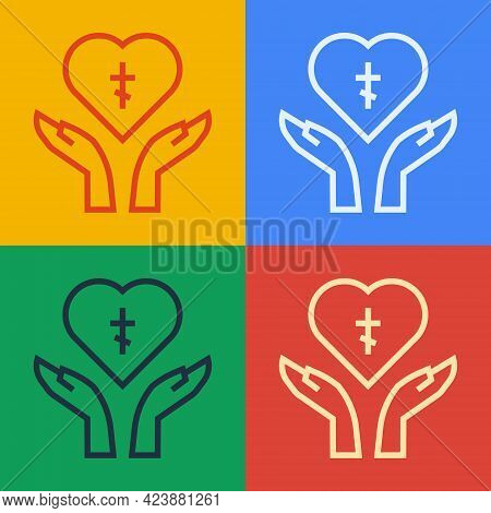 Pop Art Line Religious Cross In The Heart Inside Icon Isolated On Color Background. Love Of God, Cat