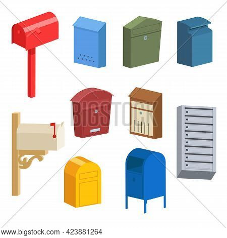Different Vintage And Modern Postboxes Vector Illustrations Set. Standing Mailboxes, Wall Mounted Le