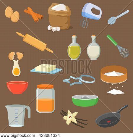 Utensils And Ingredients For Dessert Vector Illustrations Set. Flour, Bag Of Sugar, Vinegar, Butter,