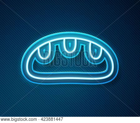 Glowing Neon Line Bread Loaf Icon Isolated On Blue Background. Vector