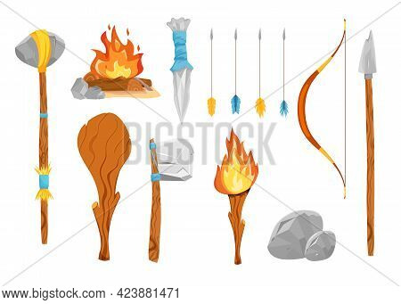 Stone Age Weapons Vector Illustrations Set. Prehistoric Tools, Ancient Axe And Spear, Bow And Arrows