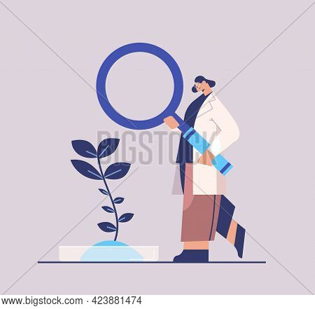 Research Scientist Working With Magnifying Glass Woman Researcher Making Chemical Experiment In Labo