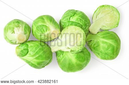 Brussel Sprouts Heap Isolated On White Background. Fresh Brussels Cabbage Top View