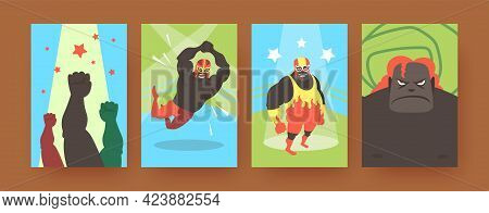 Set Of Contemporary Art Posters With Mexican Fighters. Vector Illustration. .colorful Collection Of