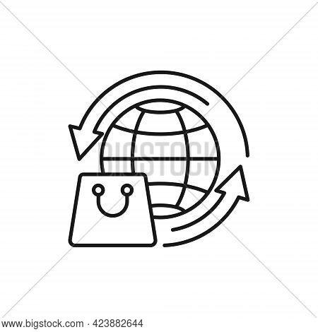Shopping Bag with Globe icon. Shopping Bag icon. Shopping icon. Shopping Bag with Globe icon vector. Shopping Bag icon set. Online Shop icon. Shopping Bag icon. Shopping Bag with Globe design for website, icon, logo, sign, symbol, app UI