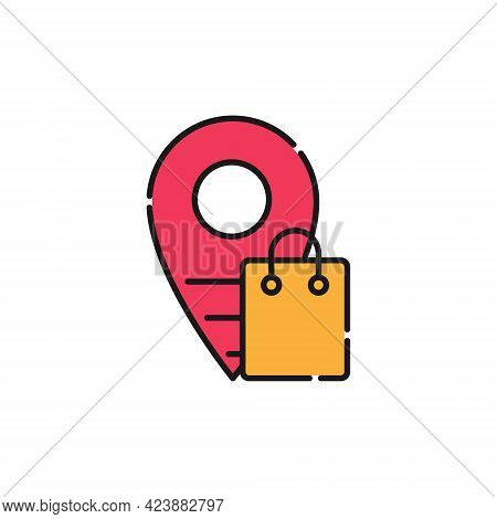 Shopping Bag with Location icon. Shopping Bag icon. Shopping icon. Shopping Bag vector icon. Shopping Bag icon vector. Online Shopping icon. Shopping Bag icon logo. Shopping Bag with Location vector icon design for web, logo, sign, symbol, app