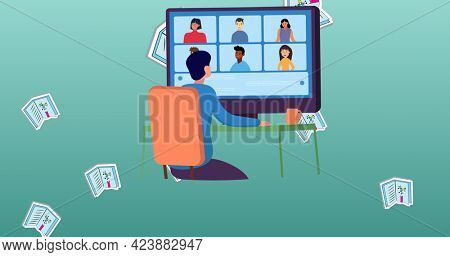 Composition of floating textbooks and person using computer for video conference call on blue. school, education and study concept digitally generated image.