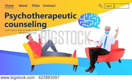 Psychologist Solving Psychological Problem Of Male Patient Psychotherapeutic Counseling Psychotherap