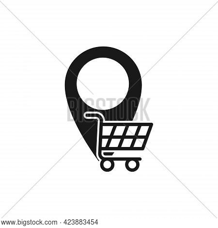 Shopping Cart with Location icon. Shopping Cart icon. Shopping icon. Shopping Cart with Location icon vector. Shopping icon set. Online Shop icon. Shopping Cart icon. Shopping Cart with Location design for website, icon, logo, sign, symbol, app