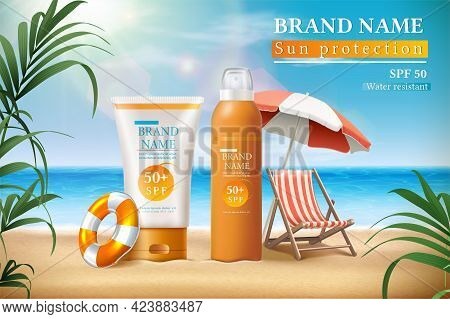 Vector Summer Sunscreen Protection Banner With Sunscreen Bottles And The Sunbed Under Umbrella With