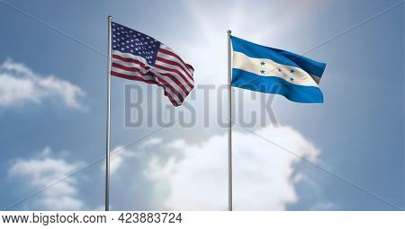 American and honduras flag waving against clouds in blue sky. international relations and affairs concept
