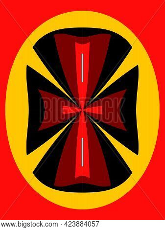 Bright Red Knight's Cross On A Black And Yellow Background. Red Cross