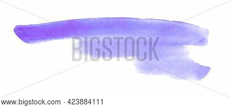 Abstract Aquarelle Color Wet Brush Paint Stroke Striped Element For Print. Colorful Watercolor Pink
