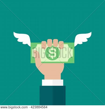 Hand Holds Dollar Banknote With Wings. Vector Flat Illustration On Blue. Give, Receive, Take, Earn C